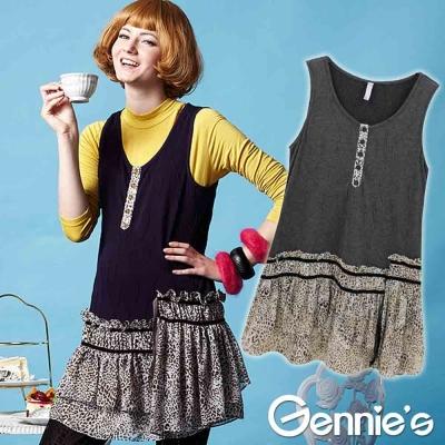 【Gennie's奇妮】個性風潮豹紋棉質孕婦長版背心上衣-紫/灰(G3215)