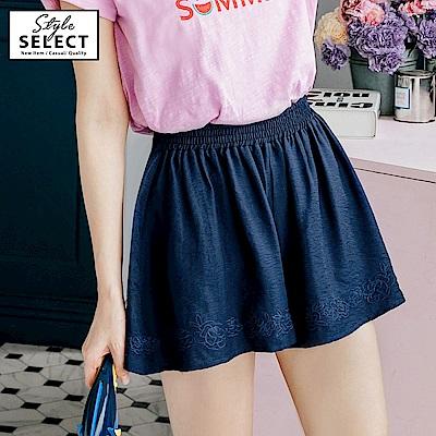 玫瑰刺繡涼感不易皺素面褲裙-OB嚴選
