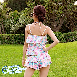 【AngelLuna日本泳裝】 印花格紋四件式比基尼泳衣-粉色