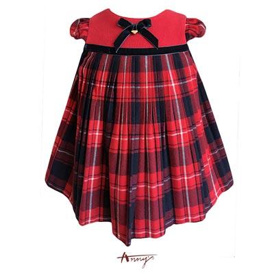 Annys貴族經典蘇格蘭格紋壓紋傘狀洋裝*7239紅