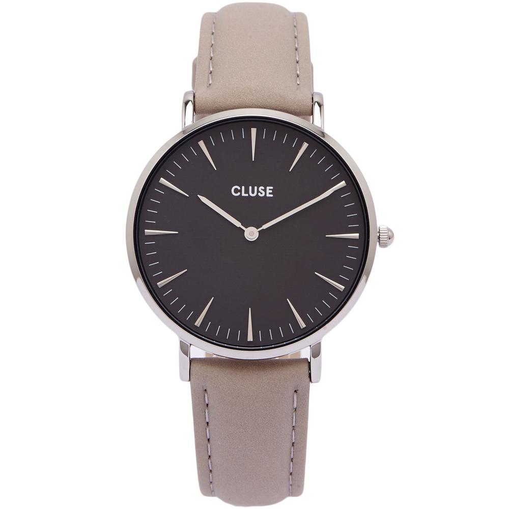CLUSE 時尚BLACK皮革手錶(CL18218)-黑面X銀色框/38mm