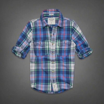 AF a&f Abercrombie & Fitch 長袖 襯衫 藍色 0129