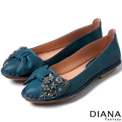DIANA 超軟Q--雙色羊皮蝴蝶結娃娃平底鞋-藍