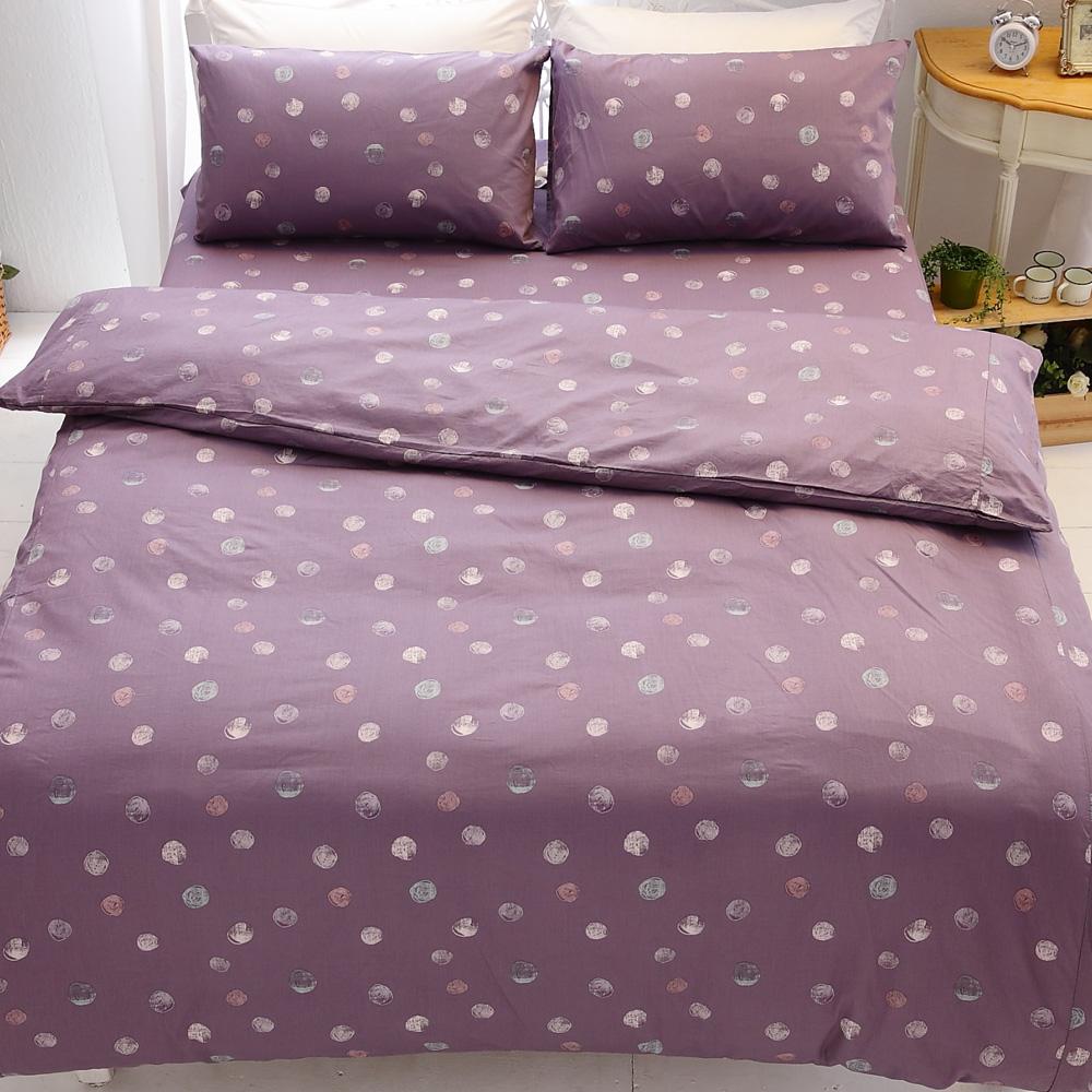 kokomos扣扣馬 鎮瀾宮大甲媽授權精梳棉205織紗雙人床包被套四件組 紫漾水彩