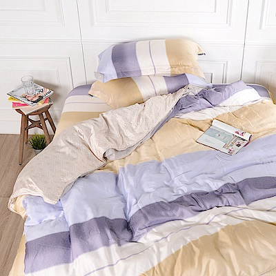 夢工場 格晝自然天絲頂規款四件套鋪棉床罩組-雙人