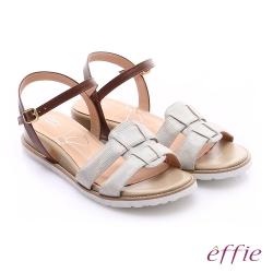 effie個性涼夏 絨面真皮圓楦羅馬小坡跟涼鞋 白色