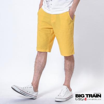 BIG TRAIN 棉麻休閒短褲-男-黃