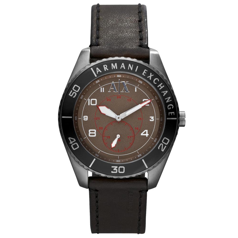 A│X Armani Exchange 科技人性都會運動腕錶-深咖啡黑/46mm