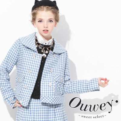 OUWEY歐薇-開襟排釦格紋外套
