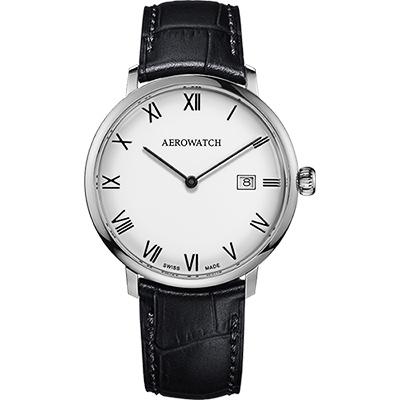 AEROWATCH Heritage系列尊爵時尚石英腕錶-白x黑/40mm