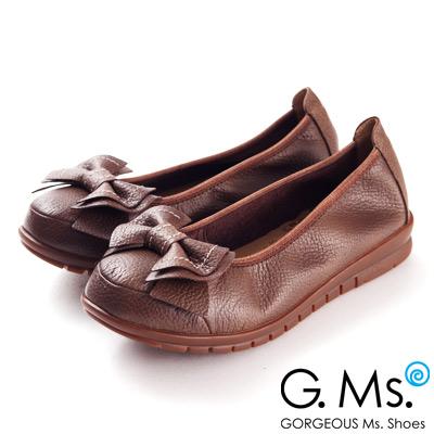 G.Ms.  MIT系列-全牛皮車線雙層蝴蝶結娃娃鞋--時尚咖