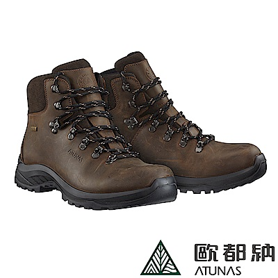 【ATUNAS 歐都納】男款防水透氣耐磨黃金大底中筒登山鞋GC-1701棕