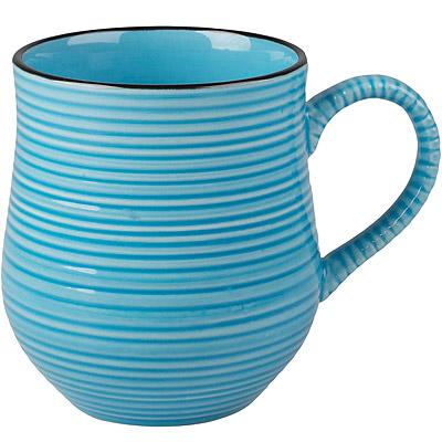 CreativeTops Cafetiere線紋圓肚馬克杯(藍500ml)