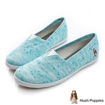 Hush Puppies 可愛花紗咖啡紗懶人鞋-藍綠