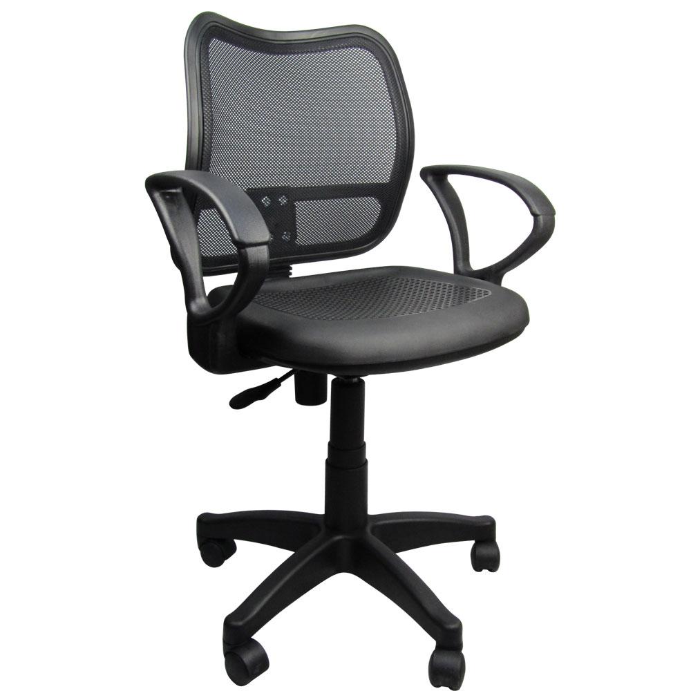 LOGIS 網背塑鋼輕巧事務椅-黑色