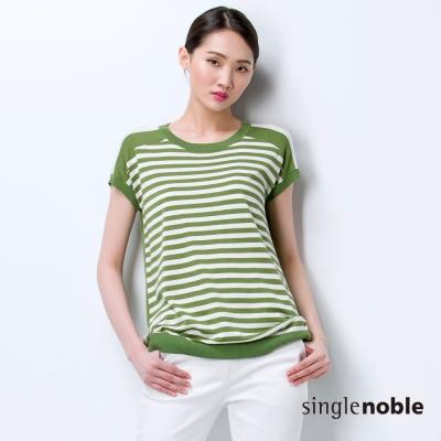 獨身貴族 跳色色塊線條拼接短袖線衫(3色)