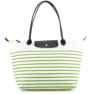 Longchamp 漸層條紋中型長提把水餃包-綠色