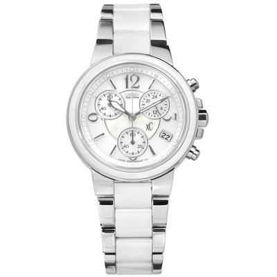 CITIZEN XC 光動能白蝶貝計時防水100米不鏽鋼陶瓷手錶-銀白色/32mm