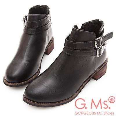 G-Ms-雙帶皮帶釦踝短靴-黑色