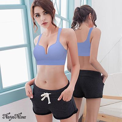 運動內衣 無鋼圈 深U美胸運動BRA內衣M-XL(紫) Naya Nina