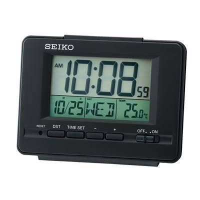 SEIKO 日本精工 電子鐘 溫度/日期(QHL078K)-黑/9.4X12.3cm