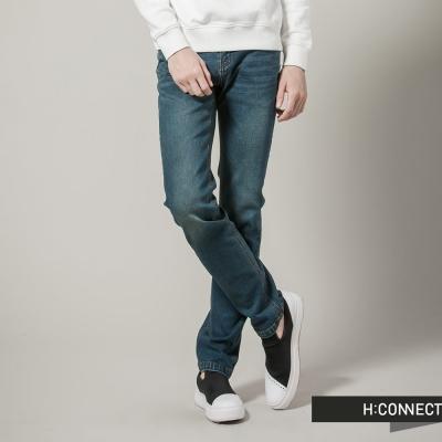 H-CONNECT-韓國品牌-男裝-口袋破損率性單寧褲-藍
