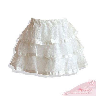 優雅蕾絲緞帶蛋糕短裙*2171白