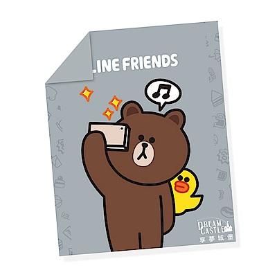 享夢城堡 單人涼被4x5-LINE FRIENDS 熊大愛自拍-灰