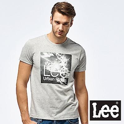 Lee 黑白烈日照片印刷短袖圓領TEE-男款-灰