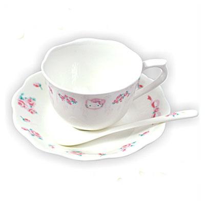 三麗鷗Sanrio-凱蒂貓HELLO KITTY優雅玫瑰骨瓷咖啡杯盤組