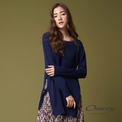 OUWEY歐薇 簡約珠飾針織長版上衣(藍)