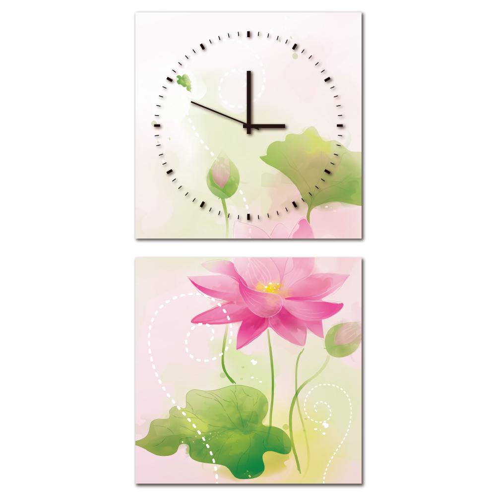 24mama掛畫-二聯客製化掛飾壁鐘時鐘畫框無框畫藝術掛畫-蓮花語-40x40cm