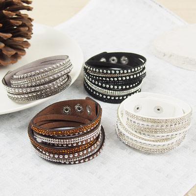 皇家遊樂園-歐美多圈纏繞碎鑽小銀珠皮革手鍊手環-四色-1609
