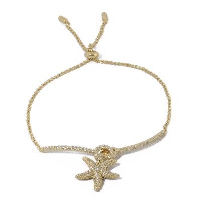 apm MONACO法國精品珠寶 垂墜海星鍍K金鑲鋯可調整手鍊手環