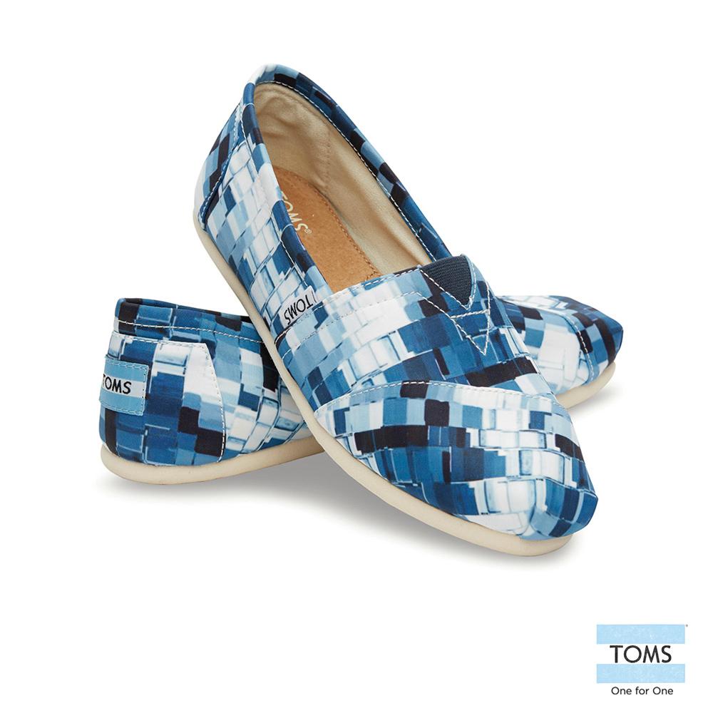 TOMS 經典馬賽克拼貼懶人鞋-女款(藍)