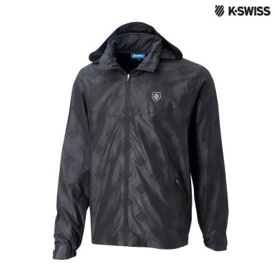K-Swiss Printed Windbeaker風衣外套-男-黑