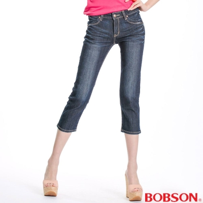 BOBSON 女款反摺後袋口七分褲