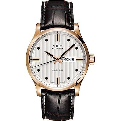 MIDO美度 Multifort 系列經典機械錶-銀x咖啡色錶帶/42mm