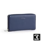 74盎司 Plain Lady 真皮ㄇ字拉鍊長夾[LN-637]寶藍