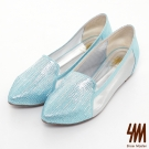 SM-台灣製真皮系列-鑽面透膚福樂平底鞋-藍色