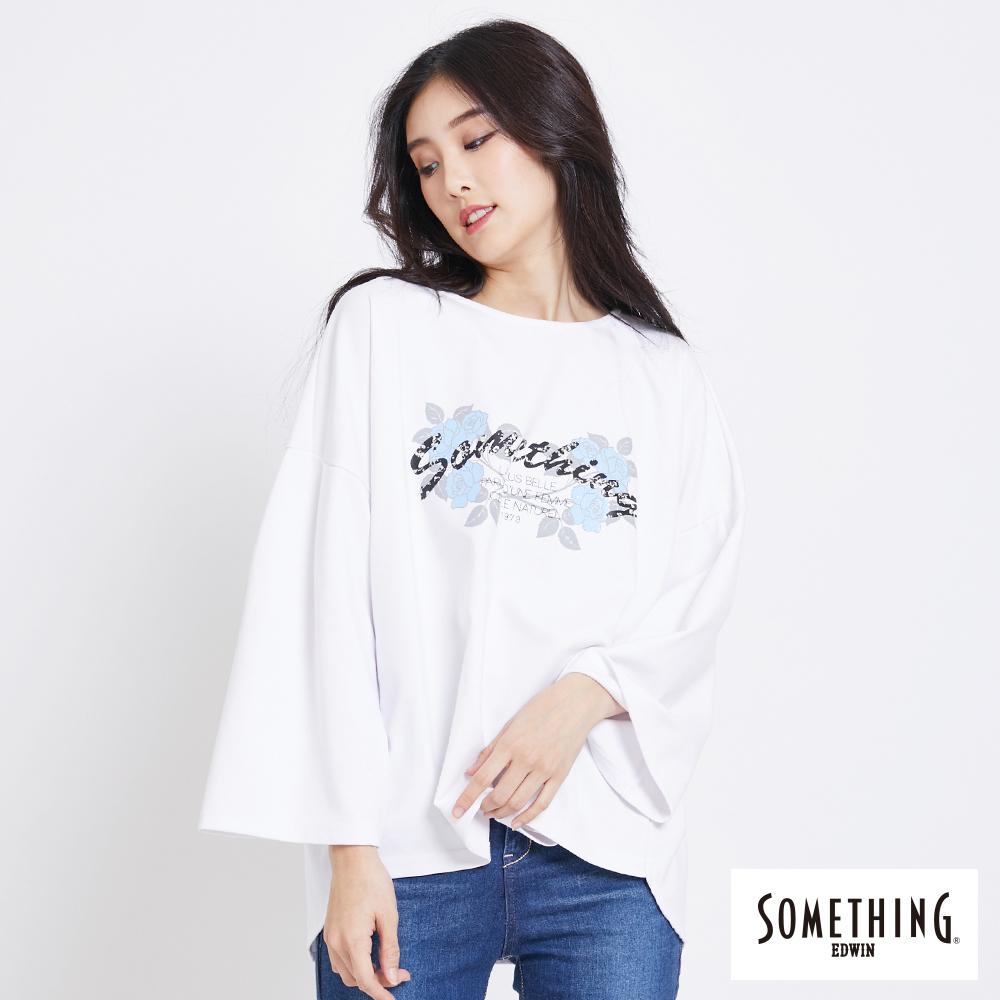 SOMETHING 花卉標語落肩T恤-女-白色