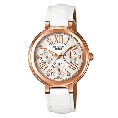 SHEEN 完美閃耀羅馬時刻施華洛世奇腕錶(SHE-3034GL-7A)-白x玫瑰金框/34mm