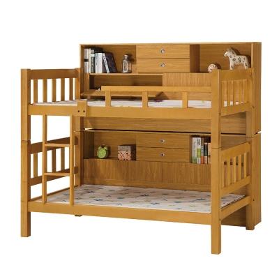Bernice-尊爵方柱3.5尺實木雙層床架(含邊櫃)