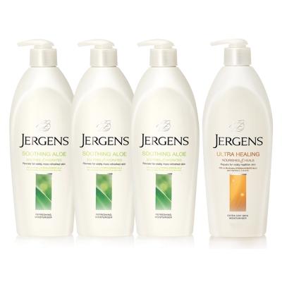 JERGENS珍柔 美體護膚保濕乳液650ml-蘆薈x3+長效配方x1