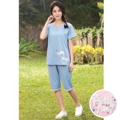 華歌爾睡衣Pretty Amy 印花 M-L 短袖七分褲家居服(甜美粉)
