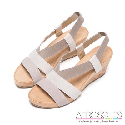 AEROSOLES-彈性布面鬆緊帶軟木塞涼鞋-裸色