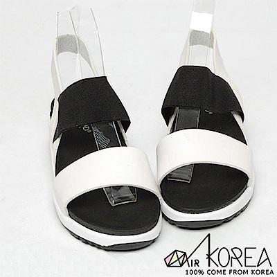 【AIRKOREA】韓國空運皮革質感氣休閒氣墊平行雙帶增高涼鞋 白