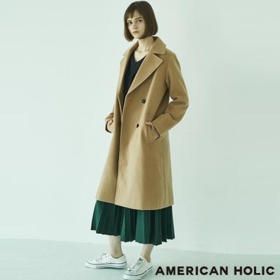AMERICAN HOLIC 翻領雙排釦長版切斯特大衣/外套