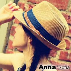 【滿額再75折】AnnaSofia 雙色拼辮帶 防曬遮陽紳士帽爵士帽草帽(駝系)