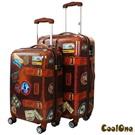 CoolOne 仿復古牛皮 PC 亮面24+20吋二件套飛機輪旅行箱